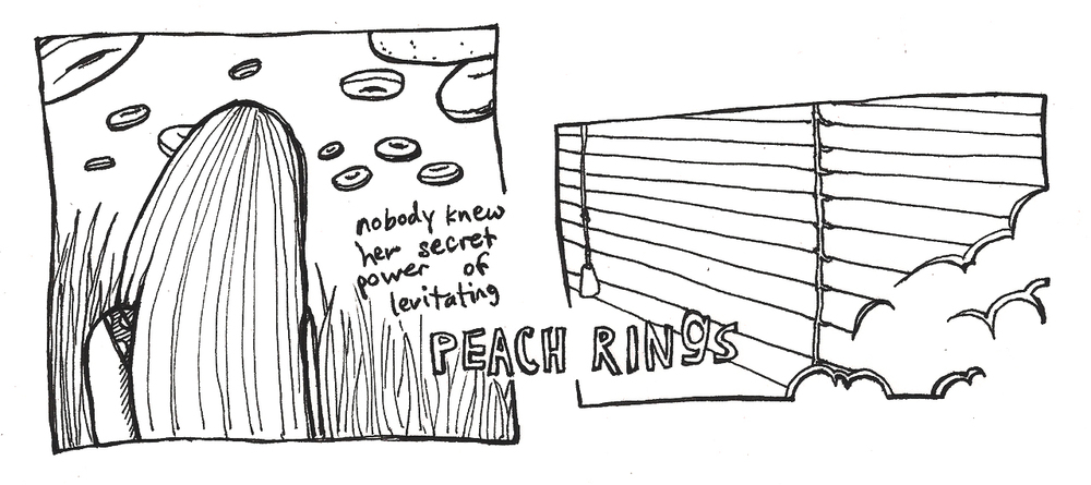 Peach Rings    Ink on paper    8 in x 3 in   Single panel comic