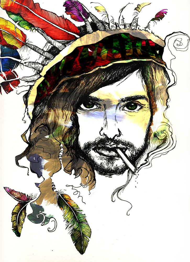 Devendra Banhart    Ink and acrylic on paper, digital multimedia    9 in x 12 in   Illustration for an  arts feature  in The Daily Californian