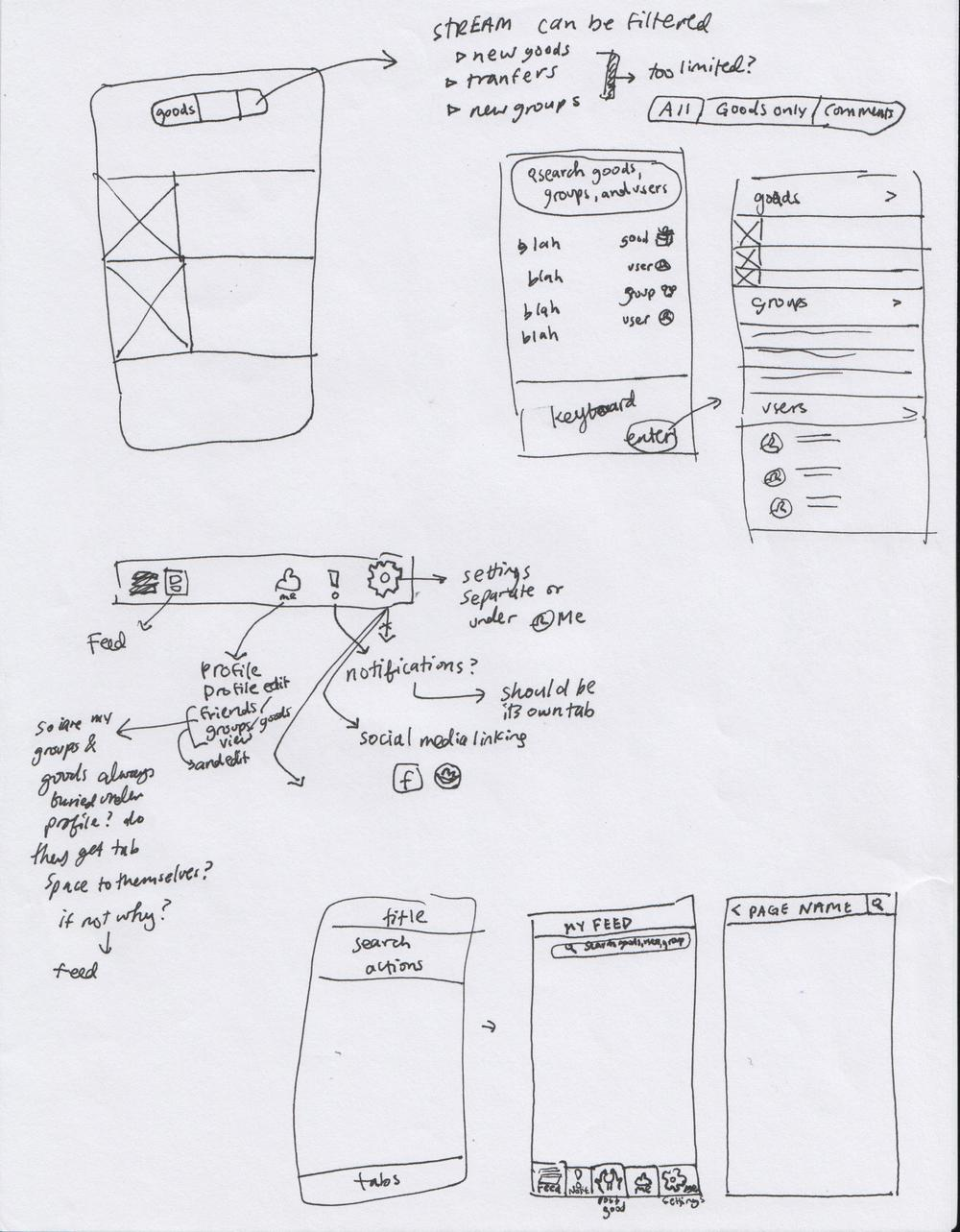 The second sketch is working out how the feed can be filtered or broken down. It also features some initial sketching of where each tab of the lower navigation leads.