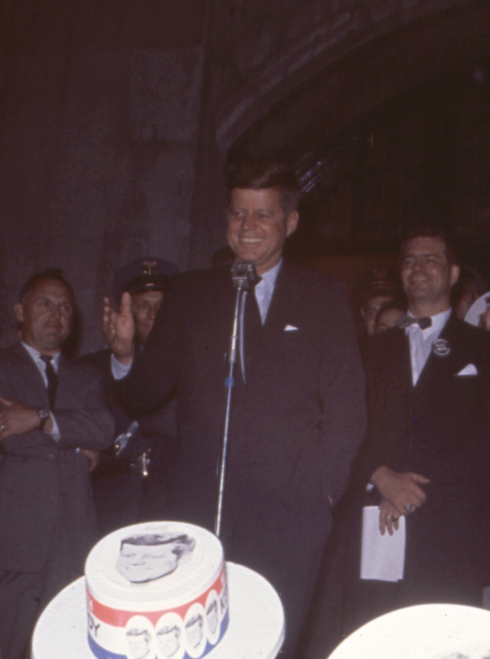 Sen. John F. Kennedy  speaks to students at the U of Michigan on a campaign stop. (Oct. 14, 1960)