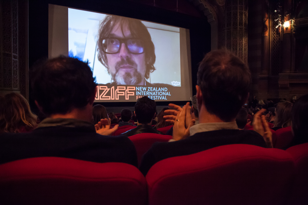 Jarvis skypes in from London with the audience at Auckland's Civic Theatre. New Zealand International Film Festival. Photo: Veronica McLaughlin