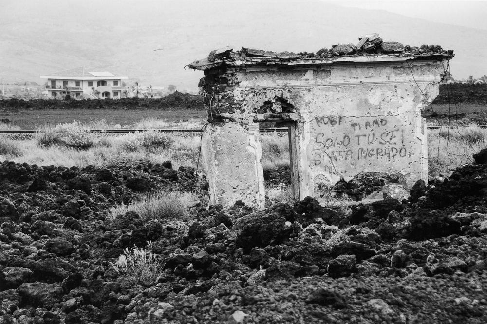 被熔岩摧毀的民宅遺跡