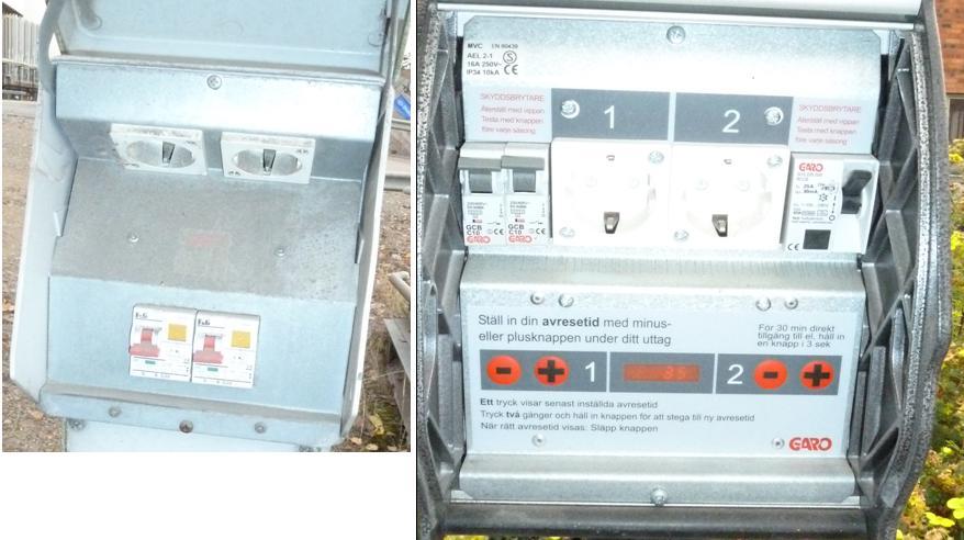Till vänster visas ett gammalt motorvärmaruttag och till höger den nya modellen där man med knapparna – och + kan ställa in avresetiden separat för varje uttag.
