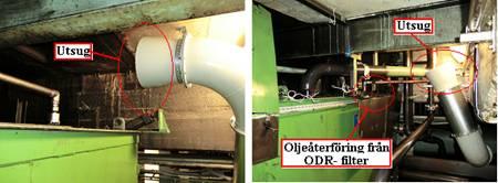 Oljan självdräneras från filtren och leds via ett rör till en tank i källaren.Utsug vid båda spilltankarna i källaren har också anslutits till filtret