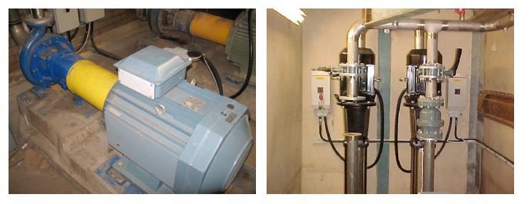 En av de ursprungliga högtryckspumparna. Till höger, nya pumparna i de separata vattensystemen (Foto: SMT)