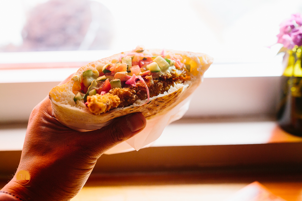 Special soft shell crab pita from Dizengoff on Sansom Street