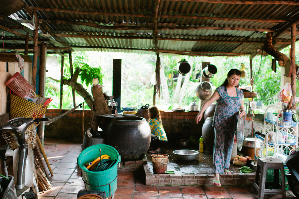 Sister in law's mom and aunt in Vietnam.  This is how they cook in the villages in Vietnam.