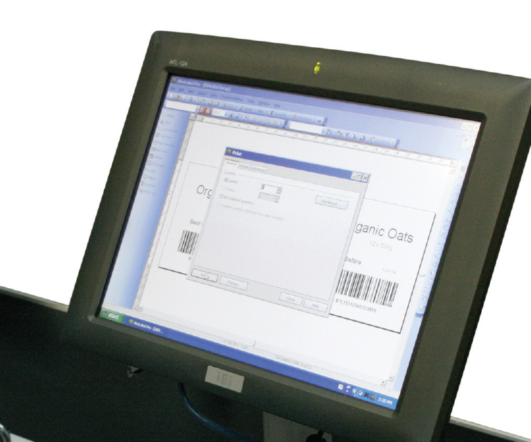 Our touchscreen label control system can be mounted to the line for local control by operators or remote over ethernet for secure control by super user