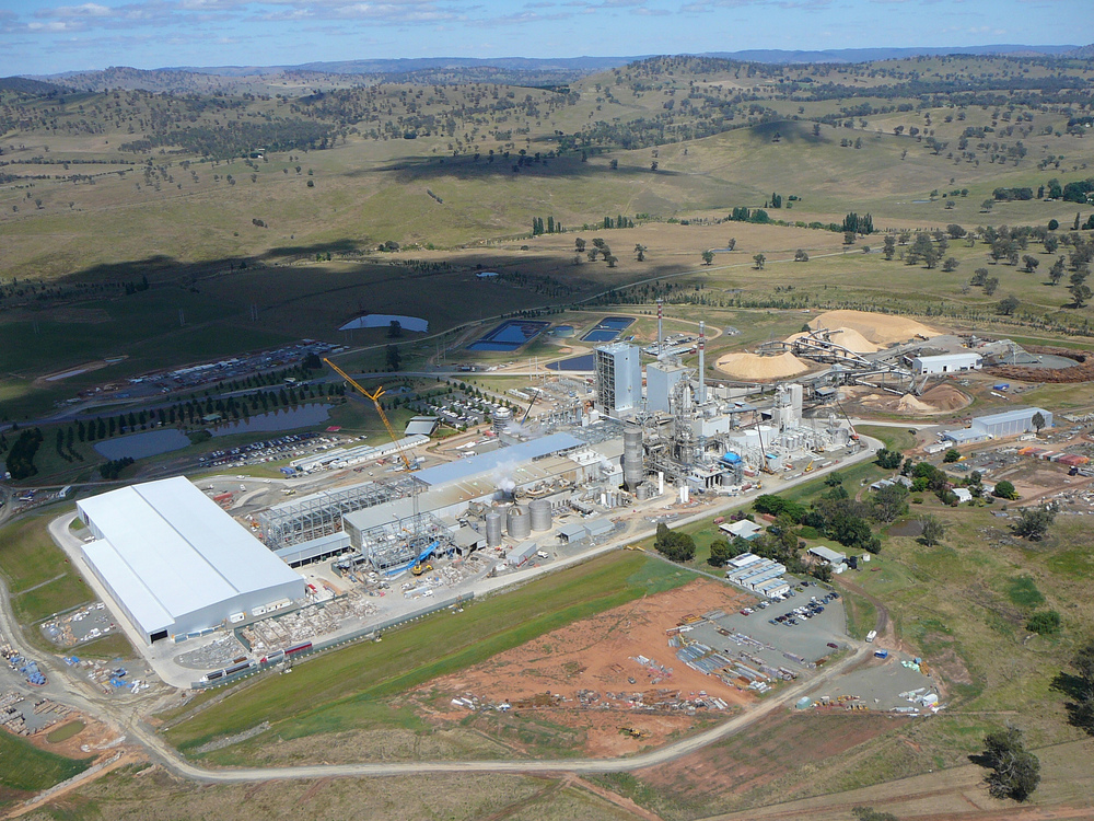 Aerial view of Visy's pulp and paper mill at Tumut