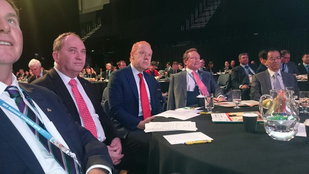 With Deputy Prime Minister Barnaby Joyce and mining magnate Twiggy Forest at National Farmers Federation 2016 Congress