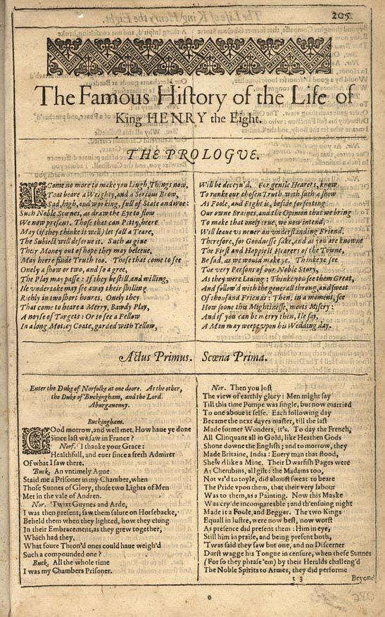 The first page of King Henry VIII as it appears in Brandeis University's copy of the First Folio.
