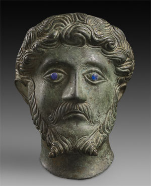 Bronze head of Marcus Aurelius found near Brackley, Northamptonshire (U.K.).
