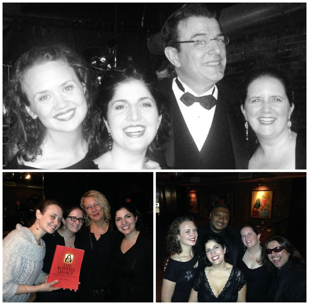 "Top: DUCHESS with Vince Giordano; Bottom left: DUCHESS with Kyla Titus, Vet Boswell's granddaughter and the author of ""The Boswell Legacy""; Bottom Right: DUCHESS with trombone star and vocalist Wycliffe Gordon and nightlife impresario Michael ""Misha"" Katsobashvili"