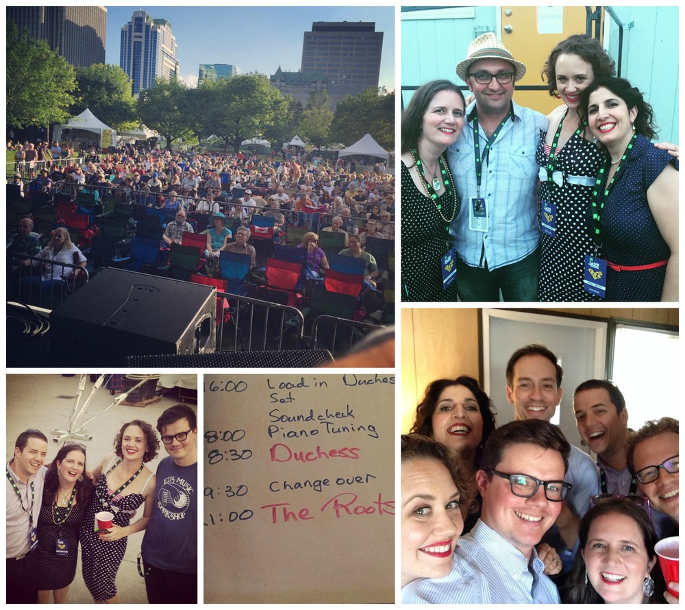 Scenes from the Ottawa Jazz Festival.  Clockwise from top left: the huge crowd; DUCHESS with Ottawa Jazz Festival Programming director and swinging sax player Petr Cancura; a selfie with the full band plus our producer/arranger, Oded Lev-Ari; photo evidence that DUCHESS opened for the Roots (!!!); a backstage beer, post-show.
