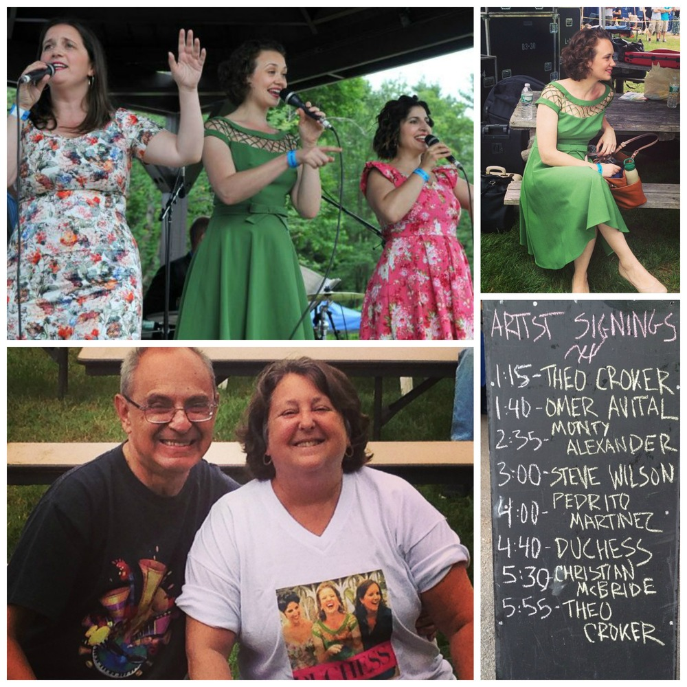 At the Saratoga Jazz Festival.  The rain stayed away for our performance at the Gazebo Stage, and we were so excited to see our dear friends (and a couple of our biggest fans), Nancy and Jerry, at our performance.  Look at Nancy's shirt!  Pretty amazing.