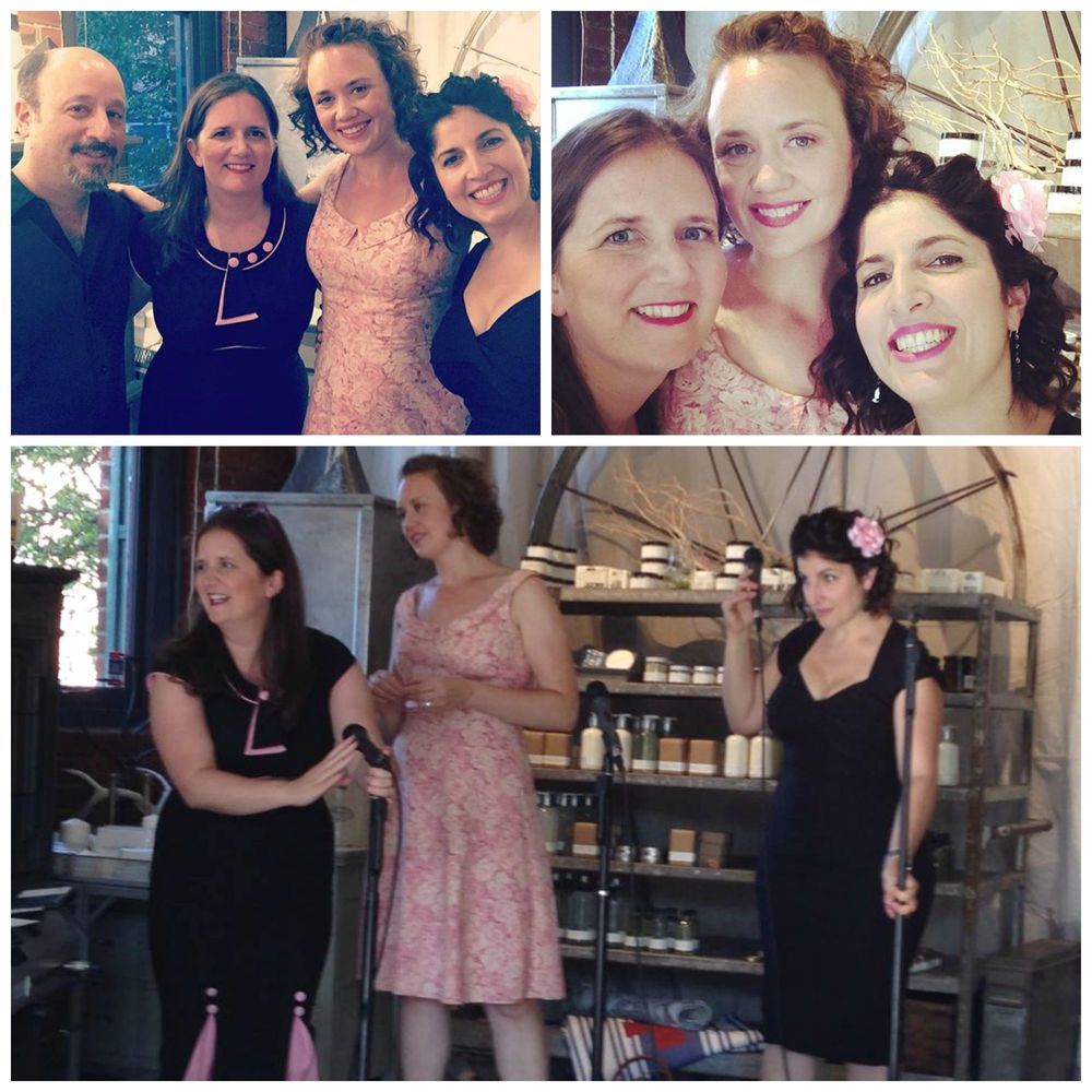 A few scenes from our last gig in beautiful Seattle: a private party at the elegant Station 7 on Capitol Hill, coordinated by our dear friend and fan, Lauralee Hagen.  We put on our finest pink-and-black frocks and had a lovely time!  DUCHESS loved making music with our Seattle pianist/bandleader and friend, Bill Anschell, seen in the top left-hand photo.