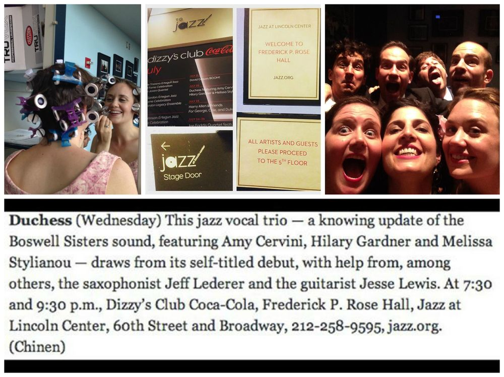 Jazz at Lincoln Center debut!  Top left: Hilary gets glammed up.  Top center: the stage door to Dizzy's Club Coca-Cola.  Top right: a kooky band selfie, pre-gig.  Bottom: the NY Times listing for our show.