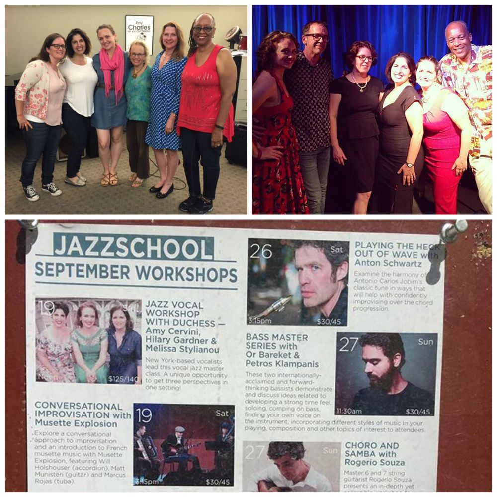 Top left: our AMAZING singers from our Berkeley vocal workshop!  Top right: the fabulous team behind Oakland's very hip jazz club, the Sound Room.  Bottom: our poster at the Jazzschool in Berkeley.