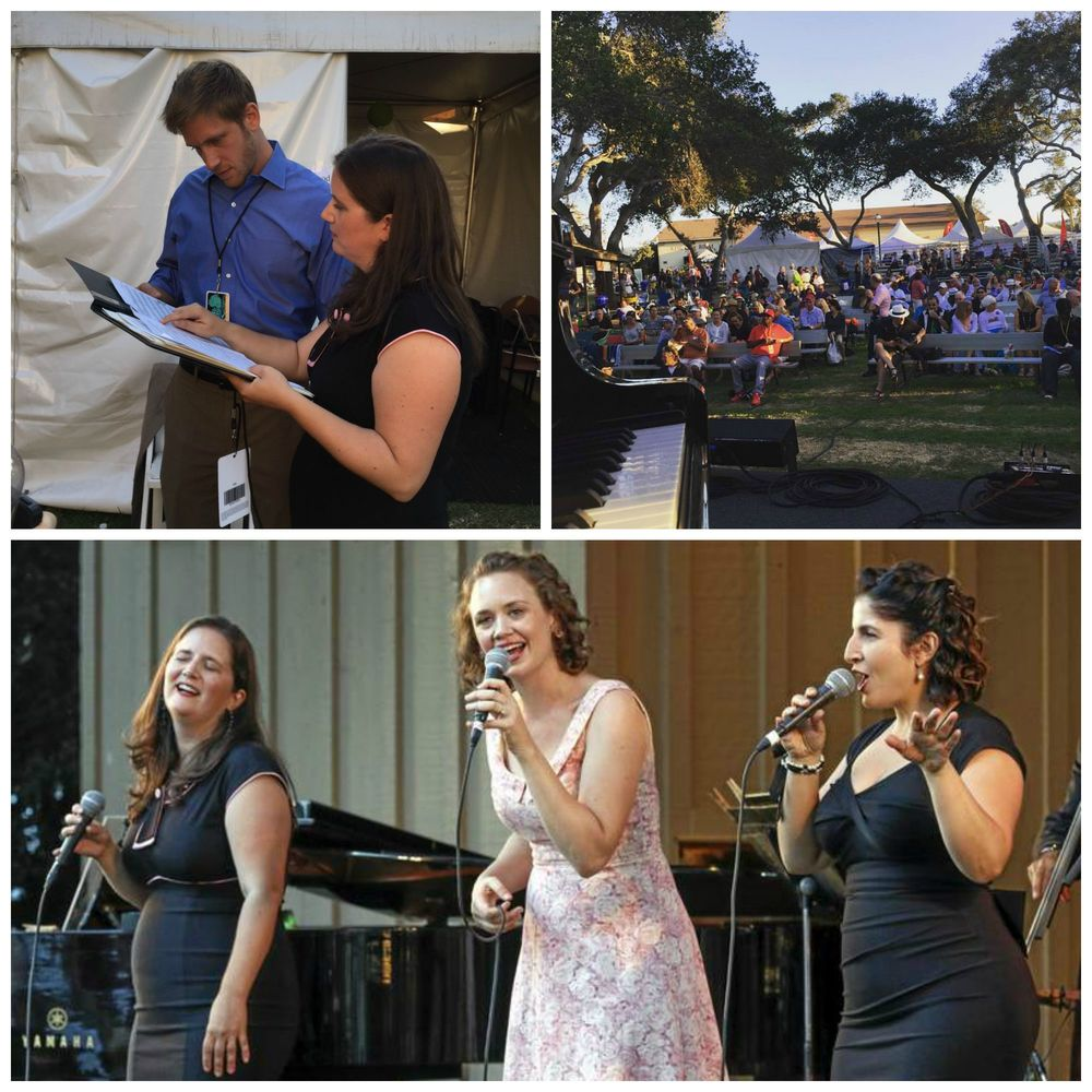 Top left: Amy talking down the charts with Paul.  Top right: the view from the Garden Stage.  Bottom: mid-performance in Monterey!