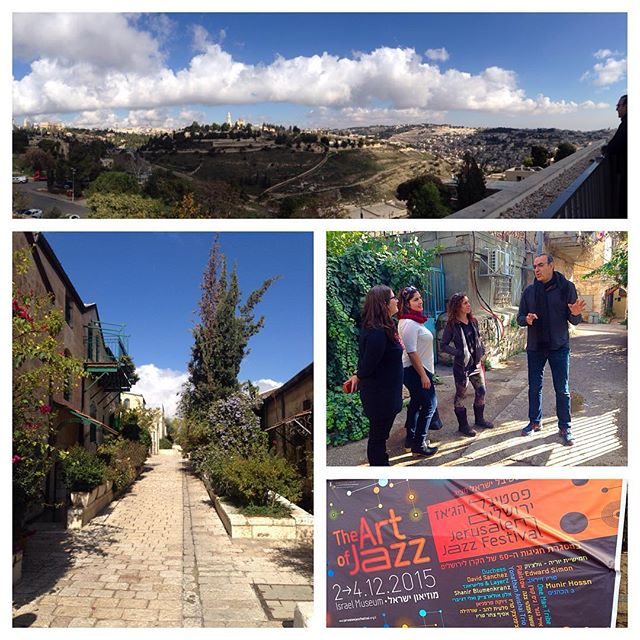 Scenes from Jerusalem, including a panorama of the Tower of David, Mount Oliva, and the Old city; festival director Eyal Sher leading our tour, and a big poster advertising the festival.