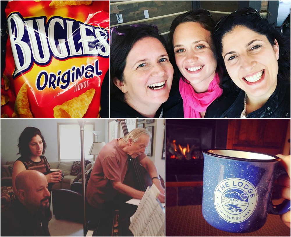 Clockwise from top left: Bugles (the official snack of DUCHESS...now, can we get a sponsorship deal, please!?), the gals enjoying the clear mountain air; teatime by the fireside at the hotel; Melissa running a rehearsal with Bill and Mike.
