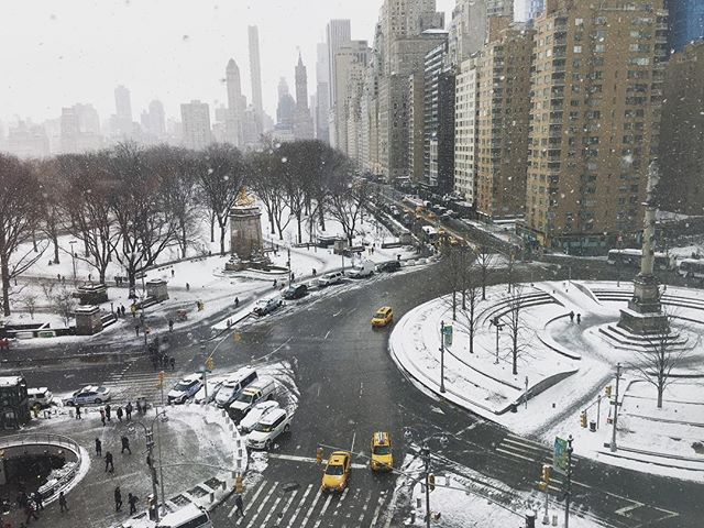 The view from atop Jazz at Lincoln Center...it snowed throughout both sets...