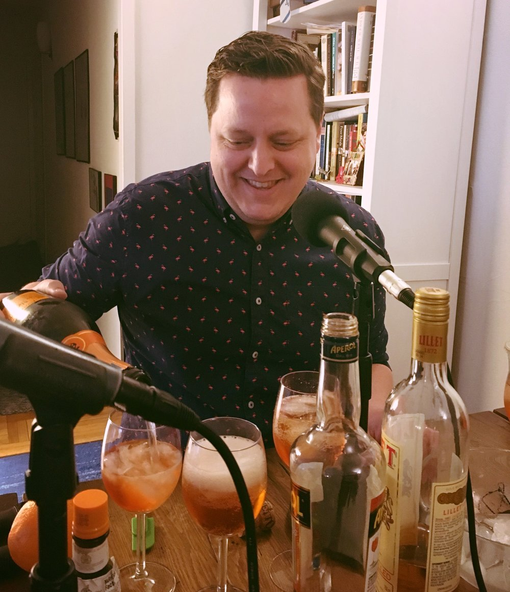 The master mixologist in his element: Grant Gardner mixing the Duchess cocktail for our podcast. We work HARD, you guys.