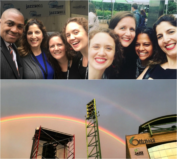 Clockwise from top left: catching up with our pal, WGMC's 90.1 Derrick Lucas in Rochester; all smiles with Toni DiMello, our Toronto hostess with the mostess; a double rainbow after our set at the Ottawa Jazz Festival.