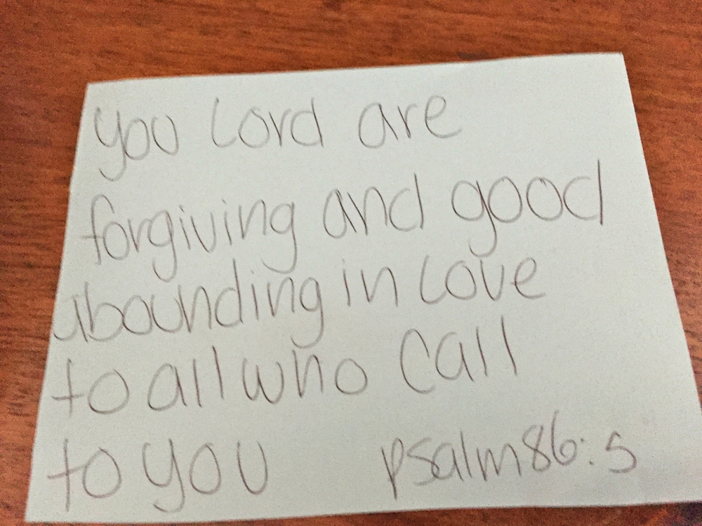 The Sunday school note given to me by a friend's child I visited while at CST