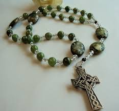 """The Anglican rosary has much in common with other prayer beads. Like the mala, the subha, and the Catholic rosary, it is circular."
