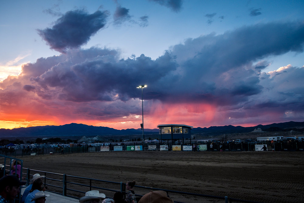 Nevada sunset over rodeo