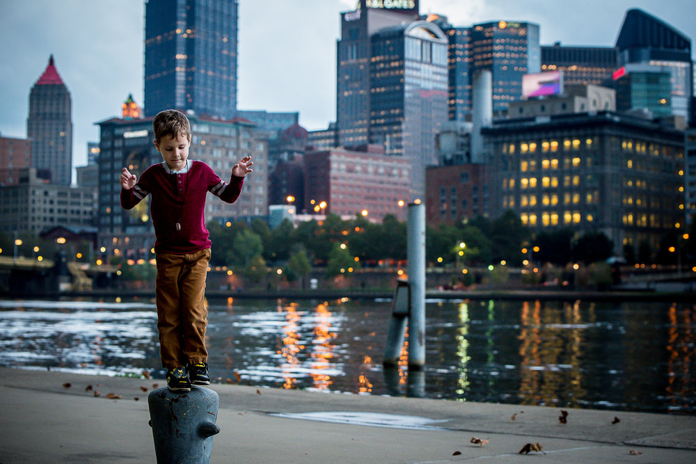 pittsburgh at dusk boy at docks