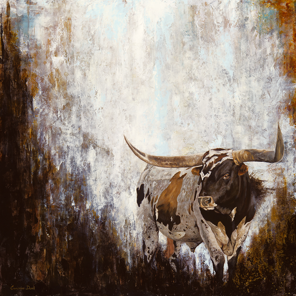 """Longhorn No. 2   24"""" x 24""""  Oil on Panel  2016  Available. $2,200"""