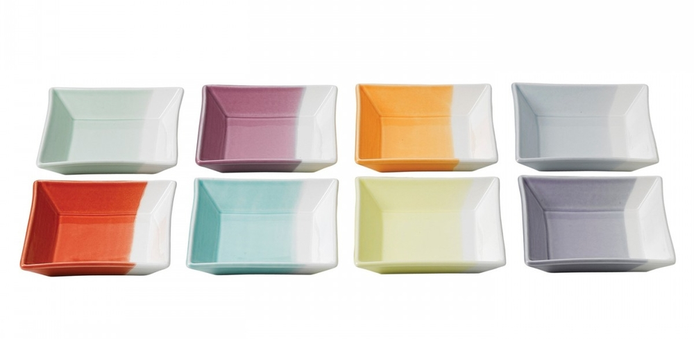 From Royal Doulton, their 1815 Collection, done in dip-dyed color-block snack dishes