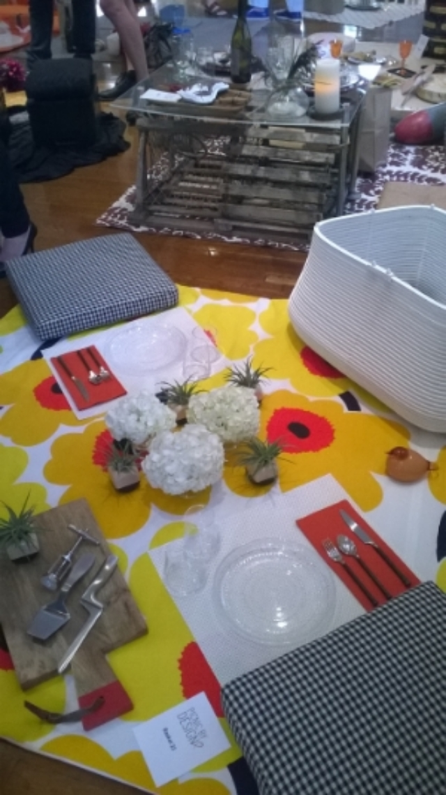 Cool Marimekko-themed set up...and a lobster trap one in back!