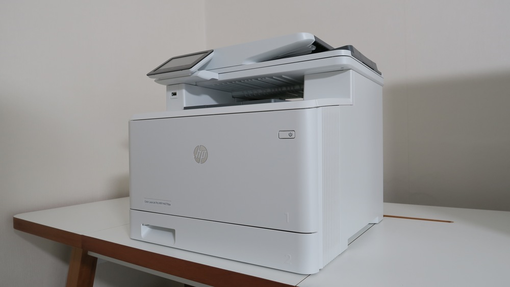 The HP M477 is big on features, with a small  footprint. Photograph ©Geekanoids