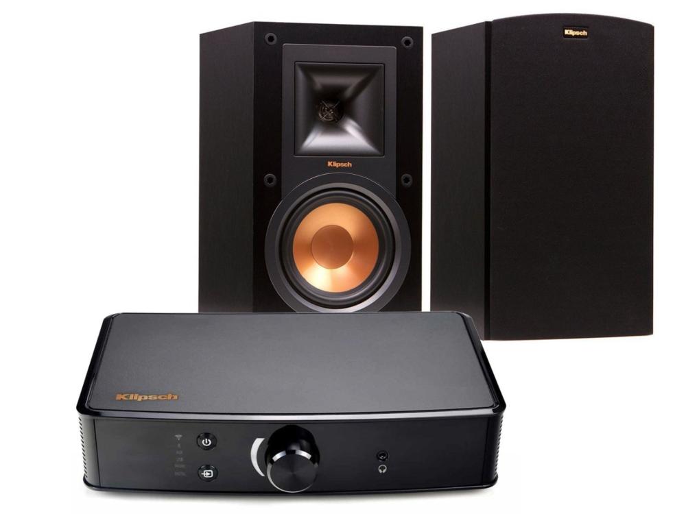 Klipsch R 15M Bookshelf Speakers Powergate Amplifier Bundle O USA