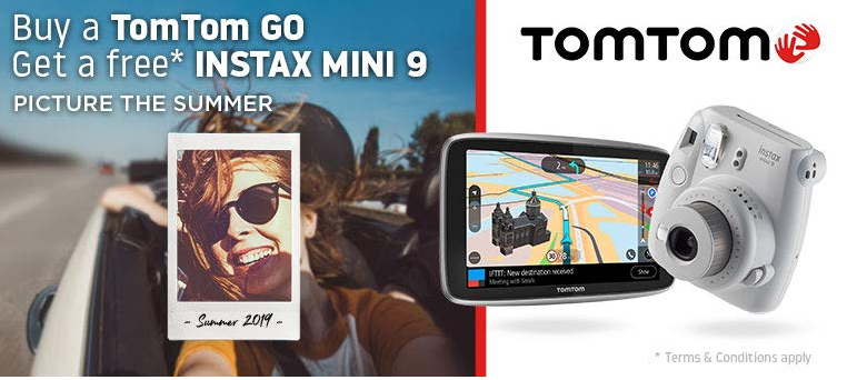 Buy a TomTom GO and get a free Fujifilm Instax Mini 9 Camera