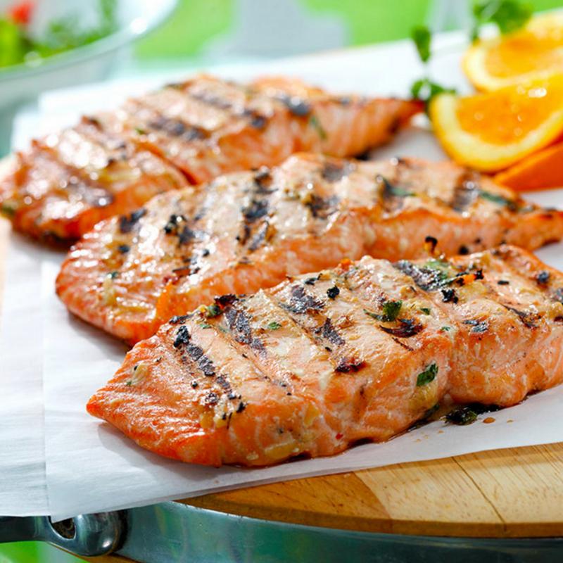 Asian Orange Soy Marinated Salmon recipe courtesy of CanolaInfo