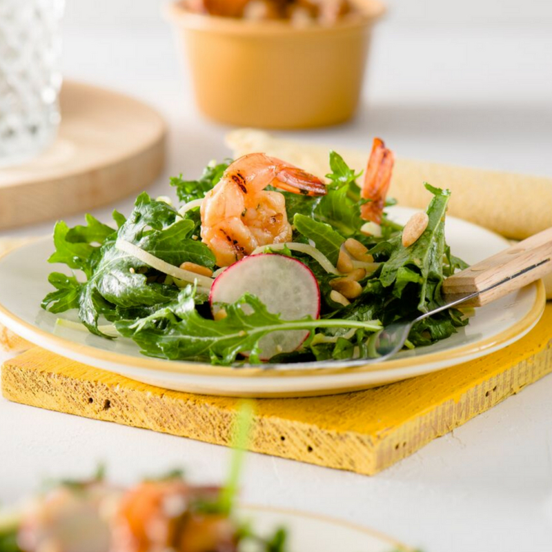 Grilled Mustard-Soy Marinated Prawns With Apple & Radish Salad In A Miso-Mustard Vinaigrette Recipe courtesy of Spreadthemustard