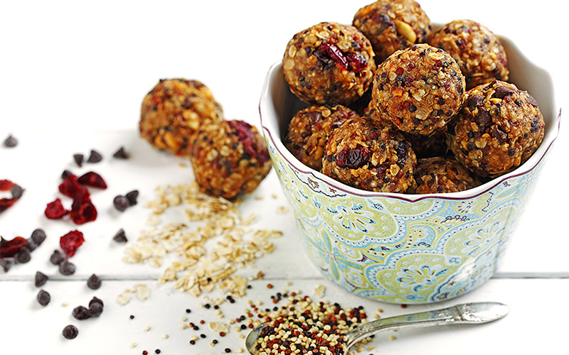 Freezer Quinoa Peanut Butter Oat Balls. Recipe courtesy of CanolaInfo