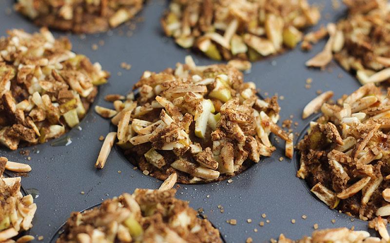 Hearty Cinnamon Apple Pumpkin Muffins.  Recipe courtesy of Healthyflax.org