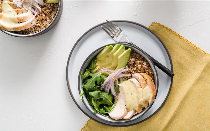 Bulgar-Mustard Seed Grain Bowl with Chicken.  Recipe courtesy of Spreadthemustard.com
