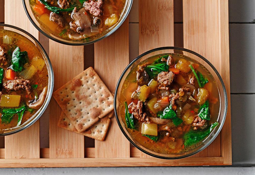 Beef and Mushroom Soup. Recipe courtesy of canolainfo.org