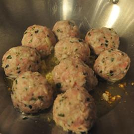 Meatballs formed