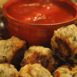 Meatballs with dipping sauce