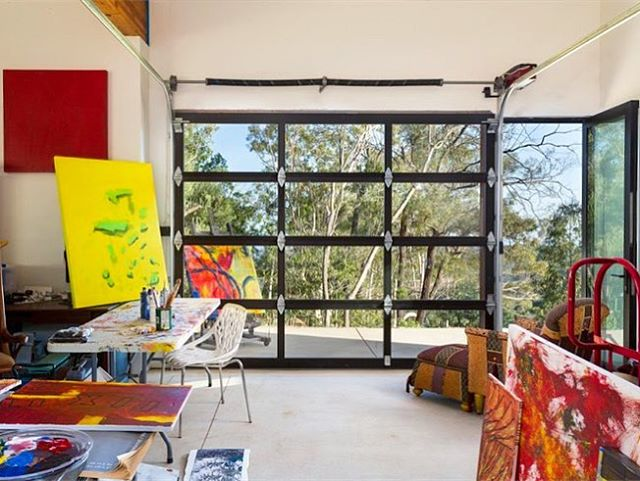 Garage turned artist studio, amongst a grove of oaks in Mission Canyon for Blackbird Architects.