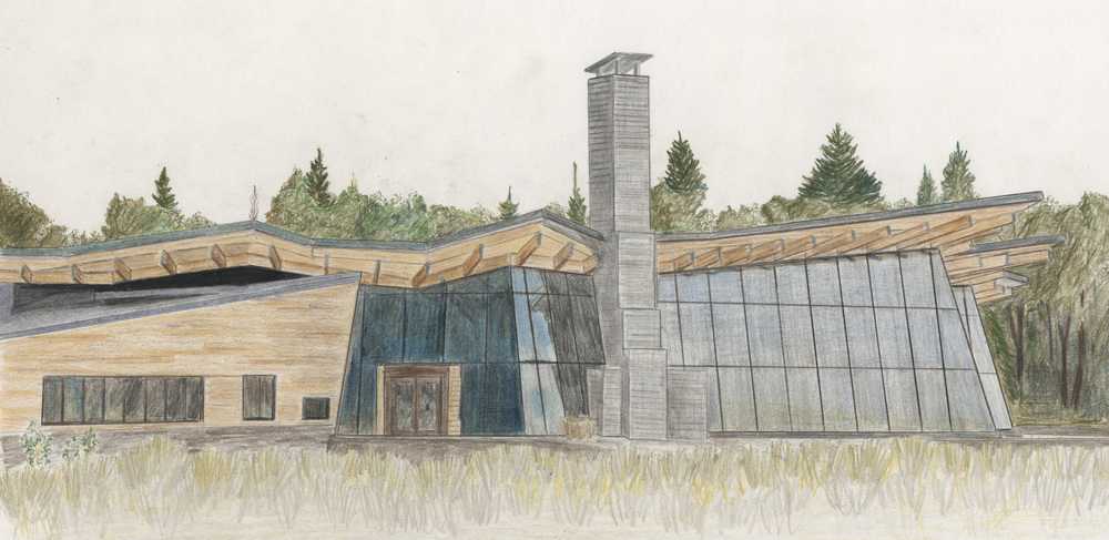 Bohlin Cywinski Jackson -Teton Visitor Center _ colored pencil