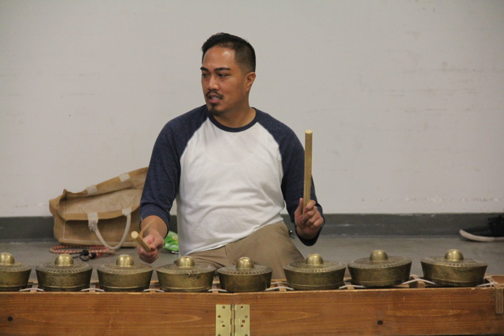Bernard Ellorin demonstrates the  kulintang  before administering the second half of the workshop.