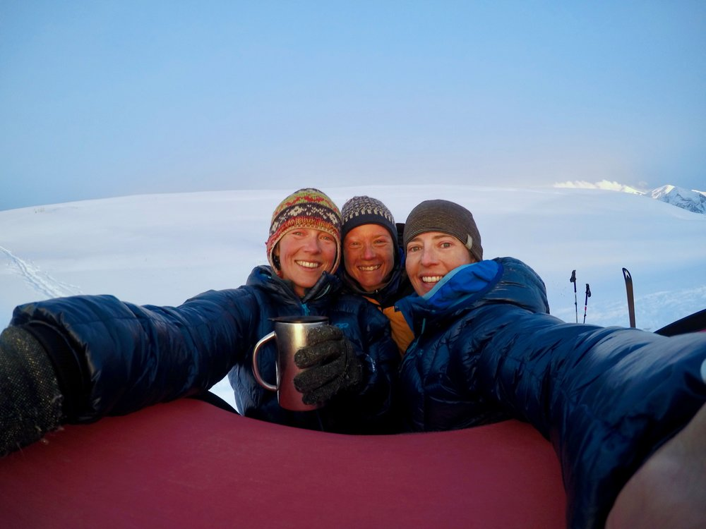 Kate, Rebecca, and Ali (The Fanny Pack), frozen and happy in the Pamir. For more on our long-standing team moniker, and bios, see our team page!